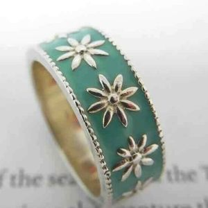 Tiffany &Co Blue Enamel Daisy Flower Band Ring